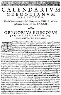 papal document that established the Gregorian calendar