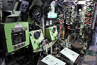 Diving plane - Control room of ''U-9'' with separate operator positions for fore and stern planes