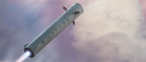 ITS launch vehicle - Rendering of the reusable ITS booster in descent