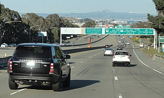 Interstate 380 (California) - Along eastbound on I-380 near the SR 82 exit. Note the very broad freeway median.