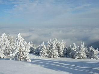Shopi - View of a cloud-covered Sofia Valley from Vitosha