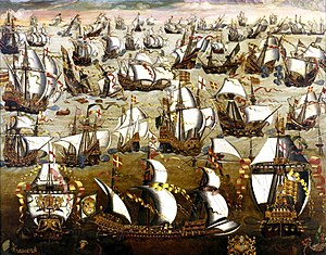 Navy - The Spanish Armada fighting the English navy at the Battle of Gravelines in 1588