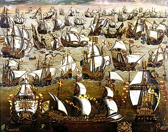 Elizabethan era - The Spanish Armada fighting the English navy at the Battle of Gravelines in 1588.