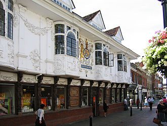 "Pargeting - The ""Ancient House"" in Ipswich shows a particularly fine example of pargeting, depicting scenes from the four continents. When the hall was built in 1670, Australia and Antarctica had not yet been discovered, and the Americas were considered a single continent."