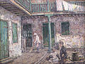 Irvine French Quarter Courtyard with Woman Sweeping and Children.jpg