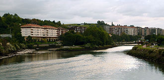 Pheasant Island - Pheasant Island from the International Bridge over the Bidasoa river. On the left Irun, Spain; on the right Hendaye, France