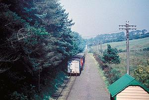 Braddan Bridge - Looking North from Braddan showing a train for Ramsey or Peel leaving, in 1961
