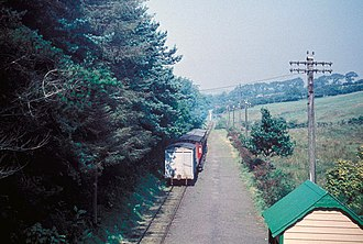 Braddan Bridge - Looking North from Braddan showing a train for Ramsey or Peel leaving, in 1961