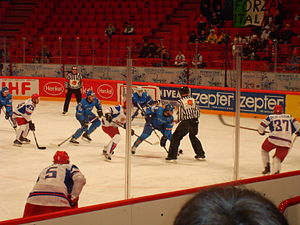 Italy men's national ice hockey team - Game between Italy vs Russia.