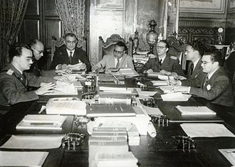 El Trienio Adeco - Members of the Revolutionary Government Junta, from left to right: Mario Ricardo Vargas, Raúl Leoni, Valmore Rodríguez, Rómulo Betancourt, Carlos Delgado Chalbaud, Edmundo Fernández and Gonzalo Barrios. Miraflores Palace, 1945