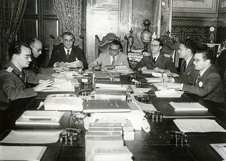 Members of the Revolutionary Government Junta, from left to right: Mario Ricardo Vargas, Raul Leoni, Valmore Rodriguez, Romulo Betancourt, Carlos Delgado Chalbaud, Edmundo Fernandez and Gonzalo Barrios. Miraflores Palace, 1945 JRG, 1945.JPG