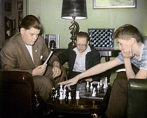 Bobby Fischer - Bill Lombardy and Fischer analyzing, with Jack Collins looking on
