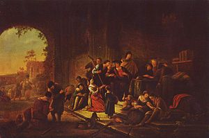 Parable of the Workers in the Vineyard - Painting of the parable, by Jacob Willemszoon de Wet, mid-17th century