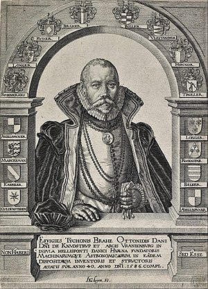 Tycho Brahe - 1586 portrait of Tycho Brahe framed by the family shields of his noble ancestors, by Jacques de Gheyn.