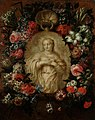 Jan Baptist Bosschaert (Attr.) - A garland of roses, peonies, tulips, iris and other flowers surrounding a stone relief of the Virgin.jpg