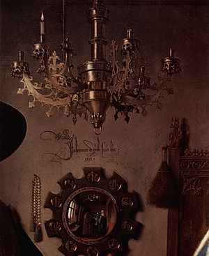 Hockney–Falco thesis - Detail of the chandelier and mirror from Van Eyck's Arnolfini Portrait, one of Hockney's key examples