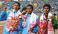 Jauna Murmu on India won Gold Medal, Ashwani Akunji of India won Silver Medal and Kawshalya of Sri Lanka won Bronze Medal in Women's 400 Hurdles event in Athletics, at 12th South Asian Games-2016, in Guwahati.jpg
