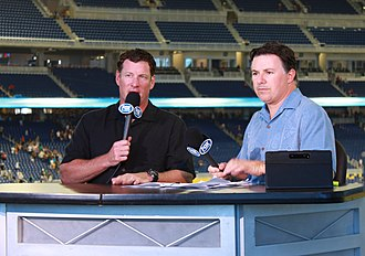 Jeff Conine - Jeff Conine broadcasting live during a post-game Fox Sports show.