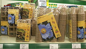 Flowerpot - Jiffy pots: peat pots that are biodegradable and may be planted directly into the soil