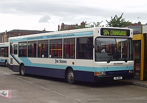 Jim Stones Coaches - Plaxton Pointer bodied Dennis Dart SLF at Leigh bus station in August 2009