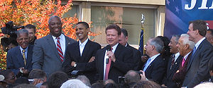 Democratic Party of Virginia - Leading Virginia democrats Douglas Wilder, Jim Webb, Tim Kaine, and Mark Warner with Barack Obama