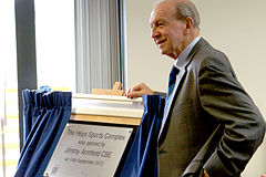 Jimmy Armfield, CBE, opening the Heys Sports Complex, Oswaldtwistle, Sept 2012