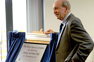 Jimmy Armfield, CBE, opening the Heys Sports Complex, Oswaldtwistle, Sept 2012.jpg