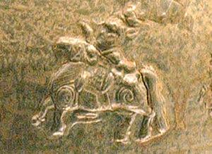 History of the Jin dynasty (265–420) - Jìn era horseman (Hunping jar detail).