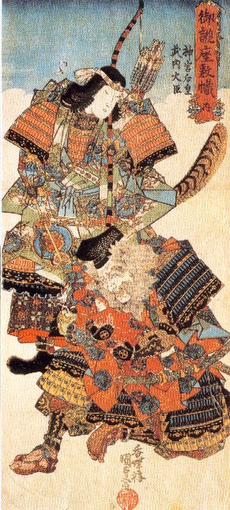 Empress Jingū - Empress Jingū and her minister Takeuchi, woodblock print by Utagawa Kunisada