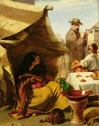 John Phillip - John Phillip The Evil Eye (1859), a self-portrait depicting the artist sketching a Spanish gypsy who thinks she is being given the evil eye, Hospitalfield House