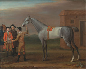 Lamprey, with His Owner Sir William Morgan, at Newmarket