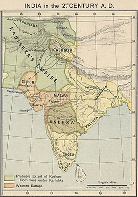 A map of India in the 2nd century CE showing the extent of the Kushan Empire during the reign of Kanishka. Most historians consider the empire to have variously extended as far east as the middle Ganges plain,[1] to Varanasi on the confluence of the Ganges and the Jumna,[2][3] or probably even Pataliputra.[4][5]