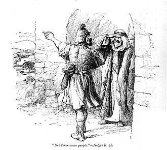 Zebul (biblical figure) - Gaal (left) points out to Zebul the approach of Abimelech's army.