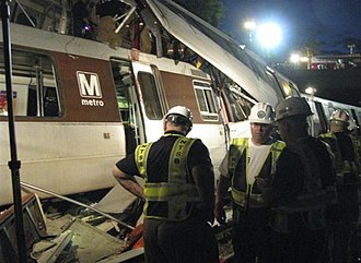 June 2009 Washington Metro train collision - NTSB and Recovery team working in the night following the collision.