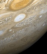 The Great Red Spot photographed during the Voyager 2 flyby of Jupiter