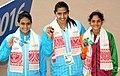 Jyosna Pansare (INDIA) won Gold Medal, Avantika Chavan (INDIA) won Silver Medal and Kahiruni Perera (SRI LANKA) won Bronze Medal in Women's 50m Fly Swimming, at the 12th South Asian Games-2016, in Guwahati.jpg