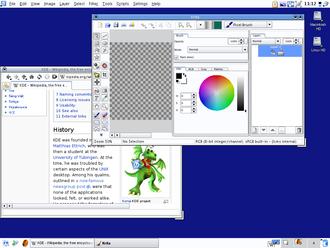 Menu bar - Screenshot of KDE 3.5 configured with a single menu bar