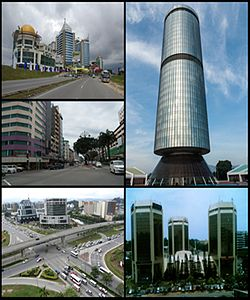 Frae top richt clockwise: Tun Mustapha Touer, Wisma Tun Fuad Stephens, Wawasan Intersection, ceety centre an 1Borneo.