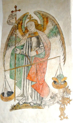 Aarhus Cathedral - Medieval fresco in typical Danish style