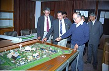 Kamakhya Prasad Singh Deo Inspecting Science City Model - Science City Site Office - Calcutta 1994-02-05 149.JPG