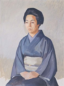 Painting of a seated woman in a kimono