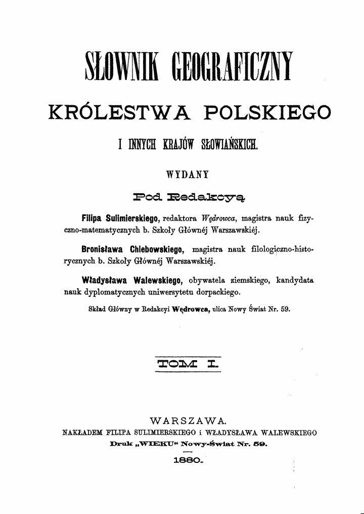 Karta tytułowa Słownika geograficznego Królestwa Polskiego i innych krajów słowiańskich