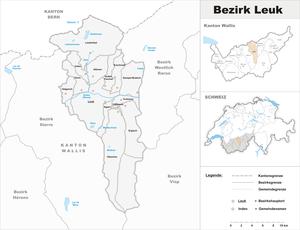 Leuk District - Image: Karte Bezirk Leuk 2009