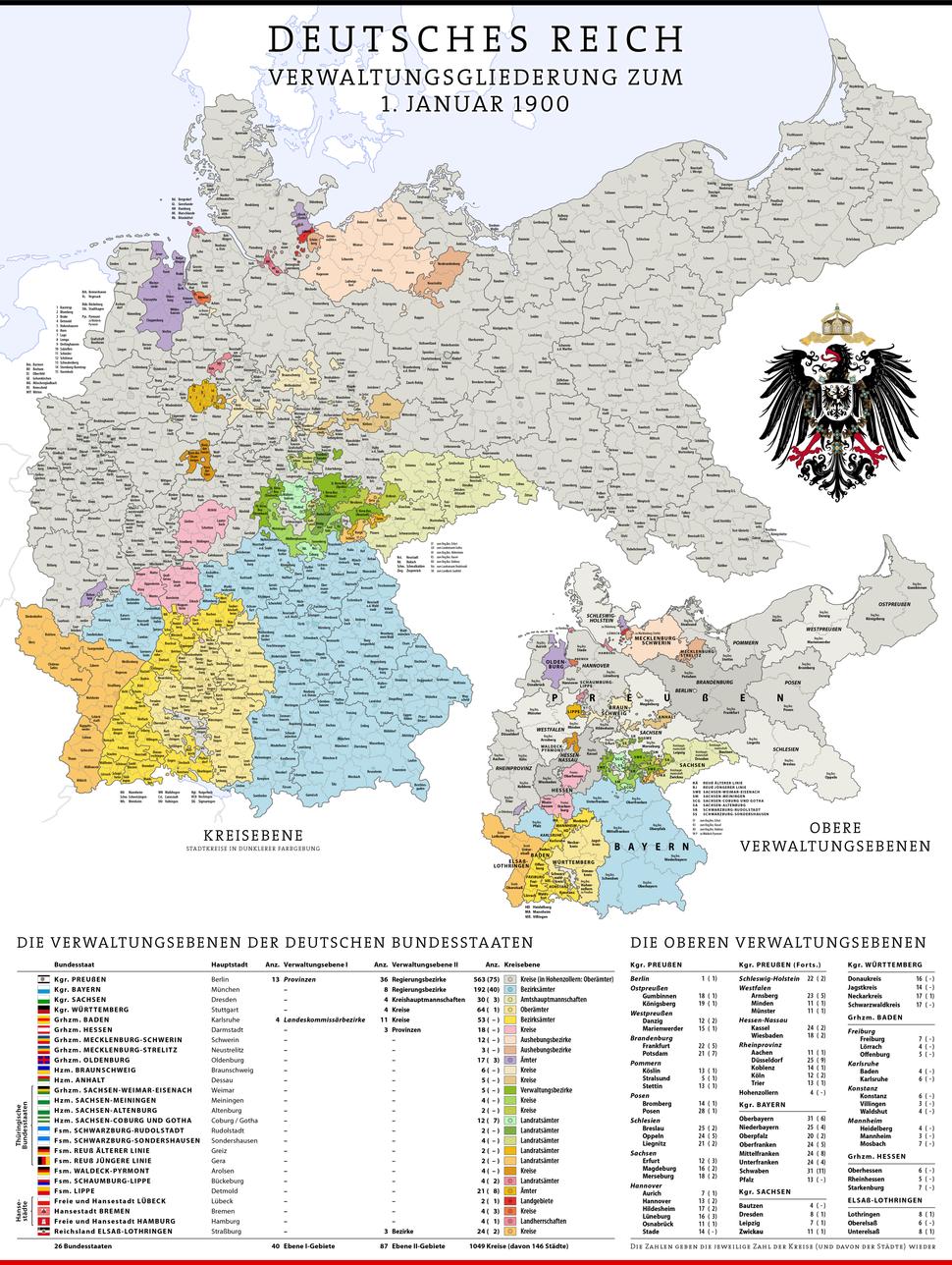 Karte Deutsches Reich, Verwaltungsgliederung 1900-01-01