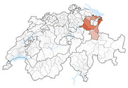 Map of Switzerland, location of St. Gallen highlighted
