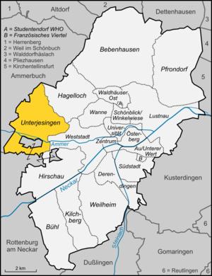 Unterjesingen - Image: Karte Tübingen Stadtteil Unterjesingen