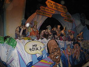 William J. Jefferson corruption case - New Orleans Mardi Gras float satirizing Jefferson à la Who Wants to Be a Millionaire?