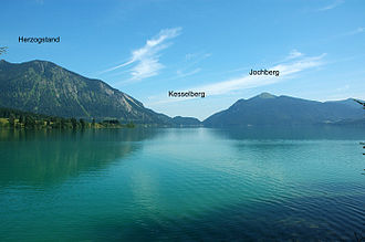 Walchensee - Kesselberg seen in the depression between Herzogstand and Jochberg