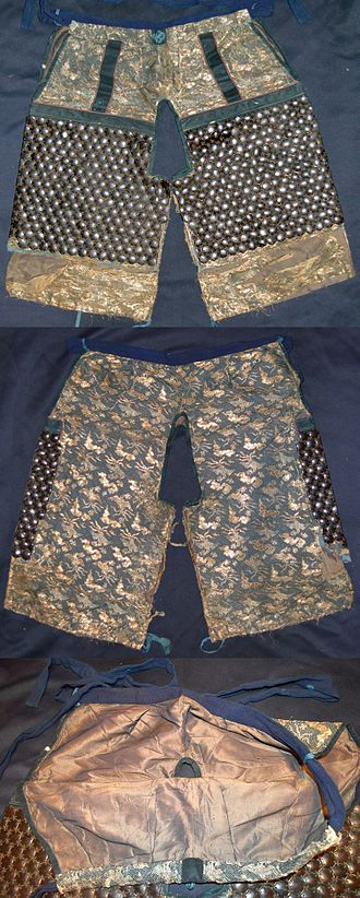Hakama - Kikko kobakama, short trousers with kikko armor sewn cloth of the front side, a type of yoroi hakama (armored trousers)