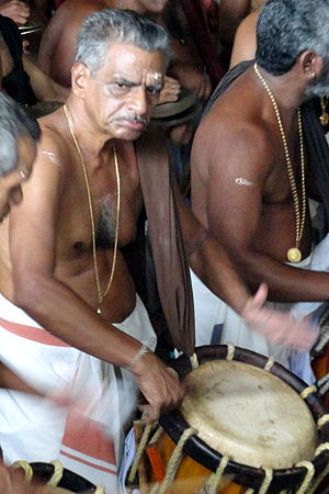 Thrissur Pooram - Kizhakkoottu Aniyan Marar, leader of 'Chenda' group of Thiruvambady temple